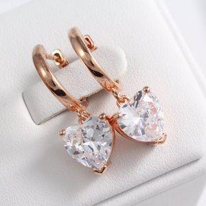 Heart Dangle Sterling Silver AAAAA Cz